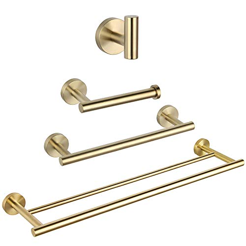 Bathroom Hardware Set 4 Pieces Brushed PVD Zirconium Gold SUS 304 Stainless Steel Bathroom Hardware Accessories Sets Wall Mounted Double Towel Bar Towel Holder Hook Toilet Paper Holder
