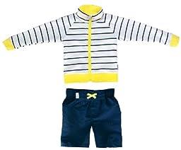 SwimZip Little Boy Long Sleeve Zipper UV Protective Rash Guard Set Yellow 3T