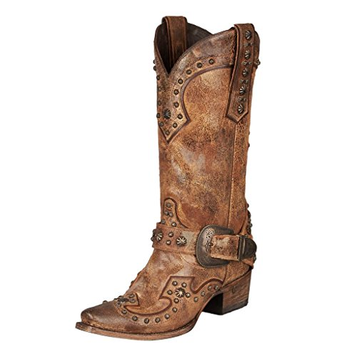 Lane Women's Your Harness Studded Cowgirl Boot Snip Toe Tan 7 M (Studded Harness Cowgirl Boots)