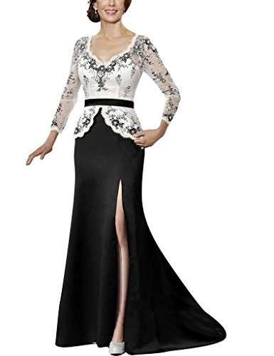 H.S.D Long Sleeves Sequins Lace Mother Of The Bride Dresses Split Side Party Gowns