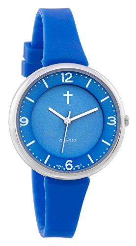 Belief Unisex | Silver-Tone and Blue Resin Easy Reader Watch with Cross | BF9659BL