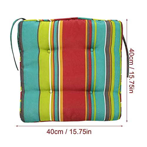Countryside Set of 1/2/4/6 Dining/Kitchen Chair Pads with Ties, Stripe Ethnic Style Chair Cushion Pad for Beach Office Home Or Car, 15.74 x 15.74 x 0.98 inches (4 pcs)