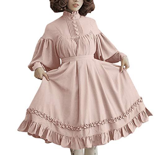 Womens Summer Wild Fashion Skirt Lantern Sleeve Long Sleeve Loose Daily Dress(Pink,M)