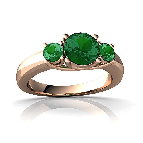 14kt Rose Gold Lab Emerald 3mm Round Three Stone Trellis (Prong Trellis Ring)