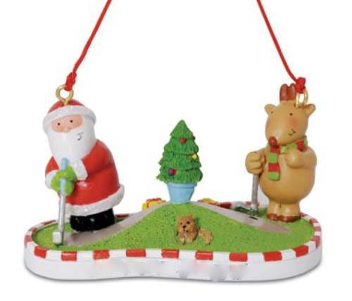 Downeast Santa and Rudolph Playing Miniature Golf Putt Pu...