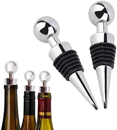 Juego de Tapones de Botella de 4 Piezas, Tapón de Vino de Acero Inoxidable, Sellado al Vacío, Máquina de Sellado de Champán, Cierre de Vino para la Colección de Vinos y Champán