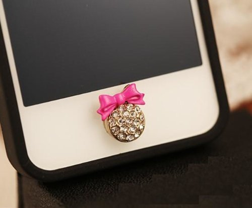 Big Mango Cute Plum Bow Round Iphone Home Return Key Button Sticker / Cell Phone Charms for Apple Iphone 5 5s 5c Iphone 4 4s Ipod Touch Ipad 2 iPad 3 iPad 4 iPad Air Tablet Replace Replacement (Ipod 5c Cases For Protective)