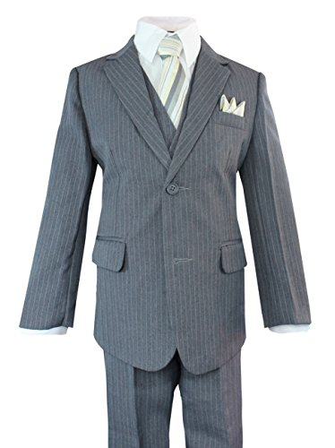 Luca Gabriel Toddler Boys' 5 Piece Grey Pinstripe Suit Handkerchief Set - (Grey Suits For Toddlers)