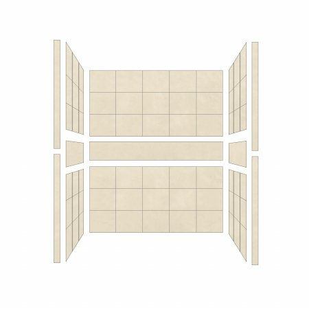 American Bath Factory S543280SO Single 54 x 32 in. Sonoma Walls