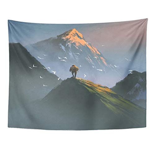 Journey Water Mens (Emvency Tapestry 60 x 50 Inches Watercolor Journey Man Standing on Top of Mountain Looking at Other Digital Painting High Adventure Birds Wall Hanging Home Decor Tapestries Bedroom Dorm Living Room)