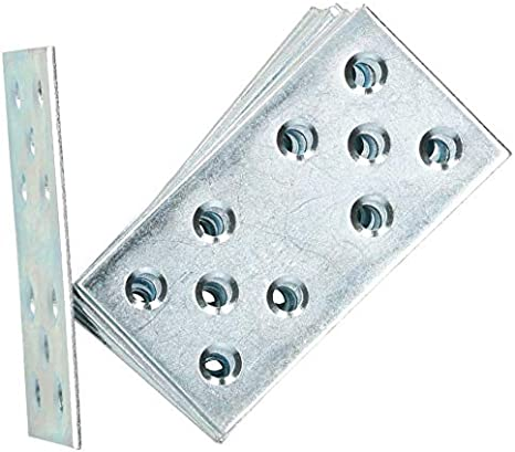 1 KOTARBAU Lochplatten 76 x 40 mm Verzinkt Silber Flachverbinder Holzverbinder Innen Au/ßenbereich Lochplatte Stahlverbinder Lochblech Flacheisen