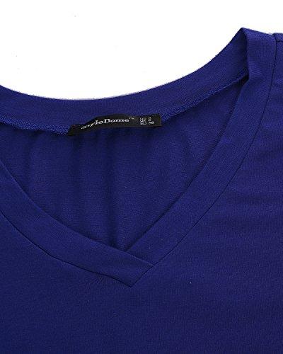 Donna StyleDome Blu Maniche T shirt corte wI7gIq