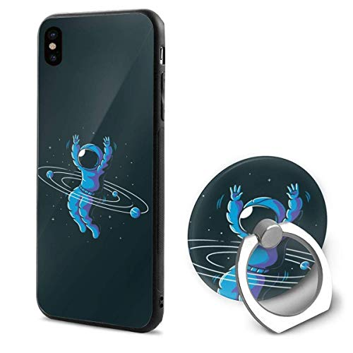 iPhone X Case Astronauts Play Hula Hoop iPhone X Mobile Phone Shell Ring Bracket ()