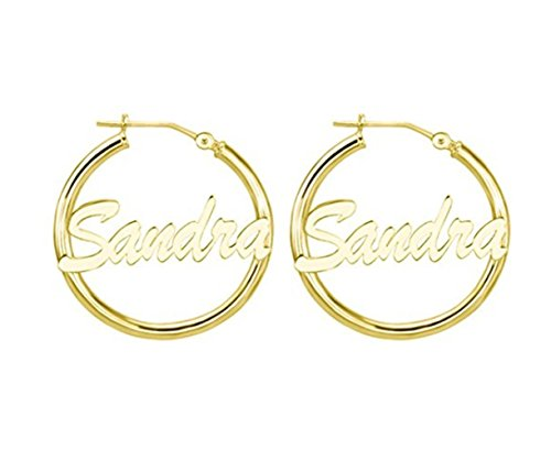 Custom Name Earrings (Lutilo 925 Sterling Silver Personalized Simple Hoop Name Earrings Custom Made with Any Names (Golden))