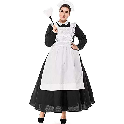 Jinling Women's Maid Fancy Classic French Maid Lolita Dress Party Cosplay Costumes for Adult -