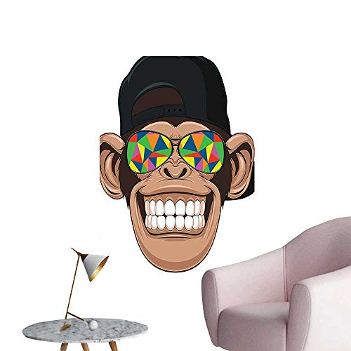 Modern Painting Fun Hipster Monkey with Colorful Sunglasses and Hat Rapper Hippie Ape Art Graphic Home Decoration,20