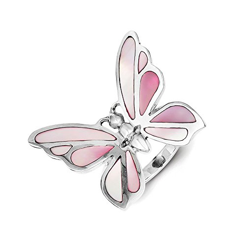 925 Sterling Silver Pink Mother Of Pearl Butterfly Band Ring Size 8.00 Fine Jewelry Gifts For Women For Her ()
