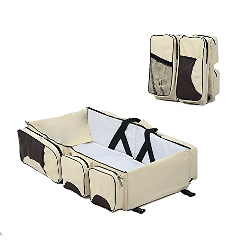 CdyBox 3 in 1 Large Capacity Baby Bed Portable Travel Bassinet/ Diaper Bag /Changing Station (Cream) by CdyBox