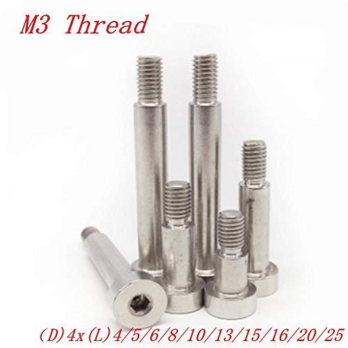 Size: M3, Length: 6mm Screws 10pcs M3 Thread 4mm Stainless Steel 304 Shoulder Screw