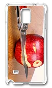 MOKSHOP Adorable Funny Apple Knife Hard Case Protective Shell Cell Phone Cover For Samsung Galaxy Note 4 - PC Transparent