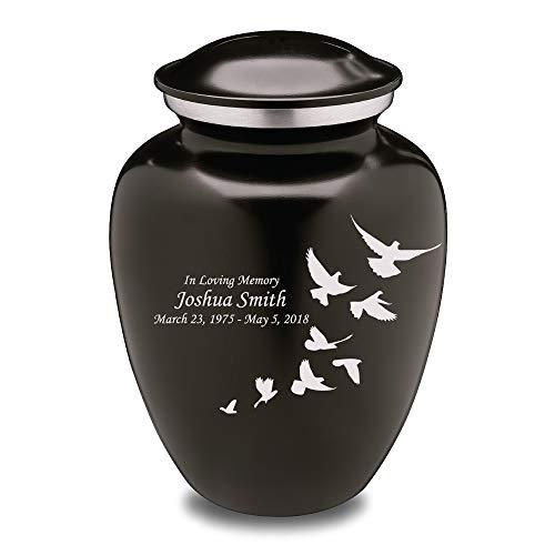 GetUrns Custom Engraved Adult Doves Embrace Cremation Urn Black
