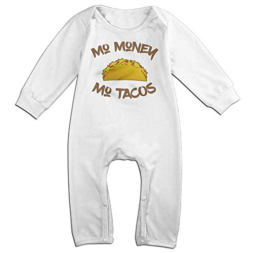 Taco Costumes Sexy (Baby Infant Romper Mo Money Mo Tacos Long Sleeve Jumpsuit Costume White 24)