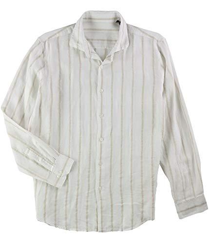 Tasso Elba Mens White Beige Boucle Stripe Long Sleeve Button Down Shirt L