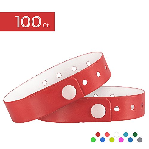 Ouchan Plastic Event Wristbands Red - 100 Pack Vinyl Wristbands for Parties by OUCHAN