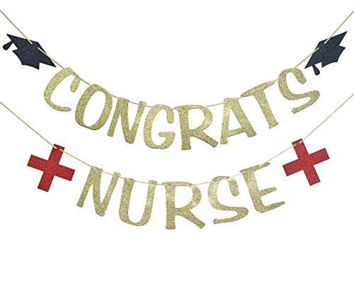 Congrats Nurse Banner for Graduation RN Party Decorations Nurse Retirement Garland Medical School Hospital Sign Red and Gold Glitter -