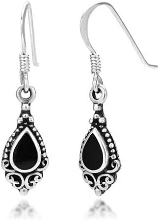 925 Sterling Silver Bali Inspired Gemstone Black Filigree Dangle Hook Earrings
