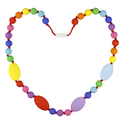 TUXEPOC Baby Teething Necklace for Mom to Wear,Silicone Nursing Chewable Beads Teether Toys - BPA Free (Many Color)