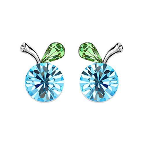 Plated Swarovski Apple Silver Crystal (White Gold Plated Crab Apple Fruit with Round Sea Blue Swarovski Element Crystal Stud Earrings Fashion Jewerly for Women)