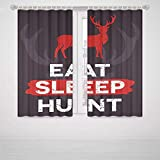 iPrint Southwest Blackout Curtains Hunting Decor Eat Sleep Hunt Inspirational Quote Grunge Deer Silhouette Antlers Decorative High-Precision Blackout Curtainscarlet White Grey