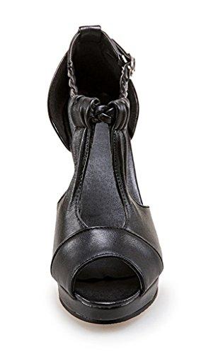 Damen Peep Toe High Heels Plateau T-Spange Sandalen Elegant Pumps mit Knöchelriemchen 10cm Absatz Schuhe Schwarz