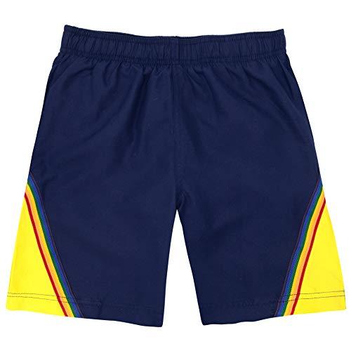 LAGUNA Vintage Boys Color Block Rainbow Volley Boardshorts Swim Trunks, UPF 50+, Navy Blue/Gold, ()