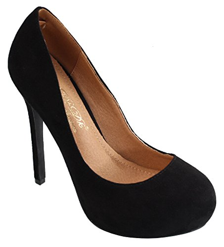 DbDk Womens Classic Round Toe Hidden Platform Slip-On Stiletto Heel Pump,9 B(M) US,Black