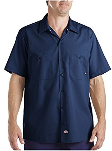 Dickies Occupational Workwear Ls535nv L Polyester Cotton Men's Short Sleeve Industrial Work Shirt, Large, Navy Blue