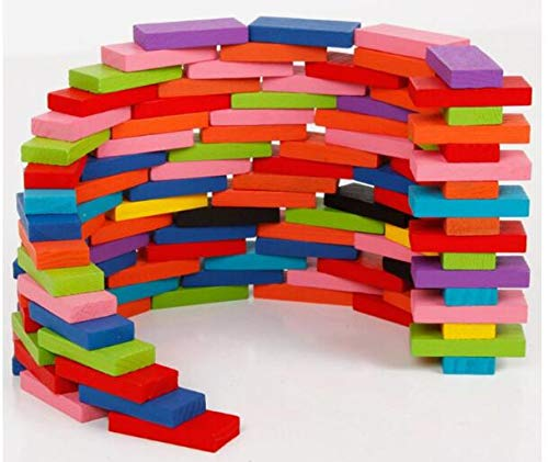 Gold Happy 120pcs/set Children Color Sort Rainbow Wood Domino Blocks Kids Early Educational Wooden Toys Gifts for Children