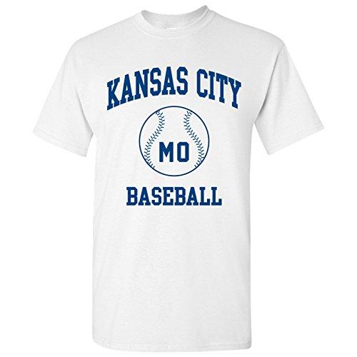 (Kansas City Classic Baseball Arch Basic Cotton T-Shirt - X-Large - White)