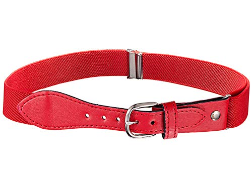 Kids Elastic Adjustable Belt with Leather Closure - Red