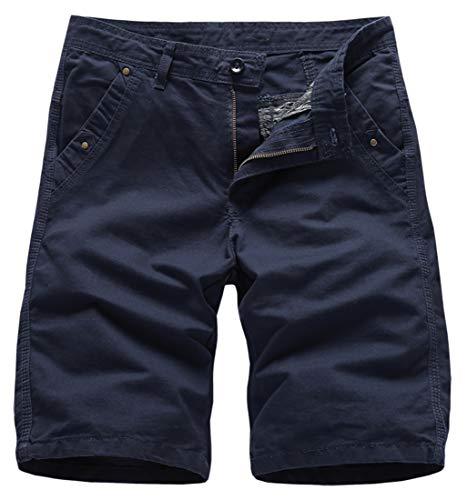 25f8a0203242 Lovelelify Men Clothing FRTCV Mens Flat Front Shorts Slim Fit Short Casual  Chino Shorts US 36/Asian 38 Dark Blue 2818