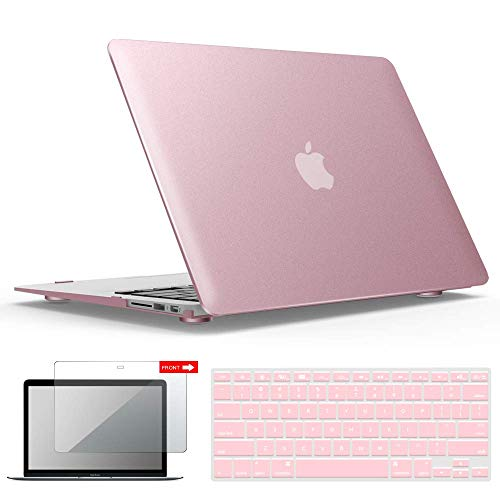 (IBENZER MacBook Air 13 Inch Case, Soft Touch Hard Case Shell Cover with Keyboard Cover Screen Protector for Apple MacBook Air 13 A1369 1466 NO Touch ID, Rose Gold,MMA13MPK+2)