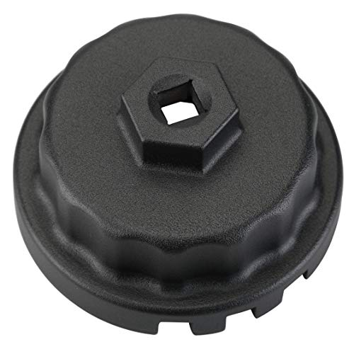 Sevens Sparta 64mm Cartridge Oil Filter Cap Wrench Removal Tool for Toyota, Lexus, and Scion 2.0 to 5.7 Liter Engines Tundra, Tacoma, Camry, RAV4, Highlander, Sienna (Black)
