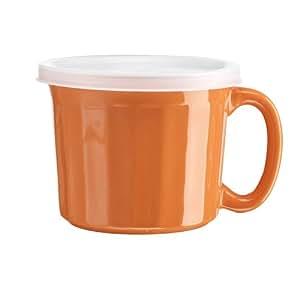 Home Essentials 20 Oz Soup Mug W/lid Orange