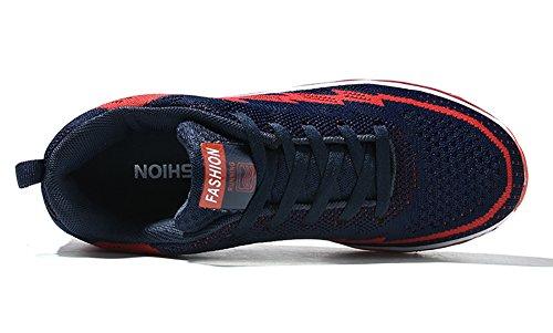 No.66 Town Womens Heren Full Sole Luchtkussen Flyknit Hardloopschoenen Paar Sneakers Deep Blue