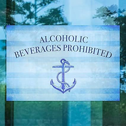 CGSignLab Nautical Stripes Window Cling Alcoholic Beverages Prohibited 30x20 5-Pack