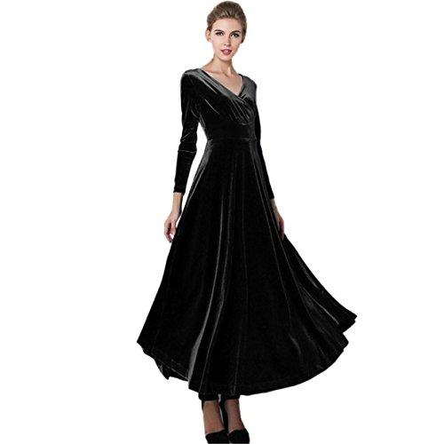 Vestidos para mujer, Longra ❤️ Mujeres Elegante Vestidos Terciopelo Largo Vestido Manga Larga Maxi Vestidos para Cóctel Fiesta negro