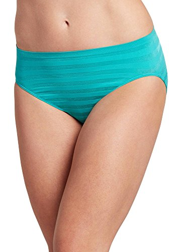 Jockey Women's Underwear Matte & Shine Seamfree Hi Cut, Turquoise Chili, ()