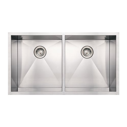 (Whitehaus WHNCM3720EQ-BSS Noah's Collection 37-Inch Commercial Double Bowl Undermount Sink, Brushed Stainless Steel)