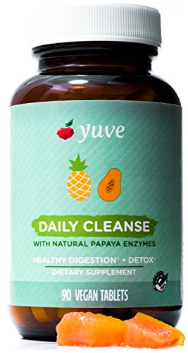 Yuve Natural Papaya Chewable Digestive Enzymes - Promotes Better Digestion & Nutrient Absorption - Helps with Costipation, Bloating, Detox, Leaky Gut & Gas Relief - Vegan, Non-GMO, Gluten-Free - 90ct